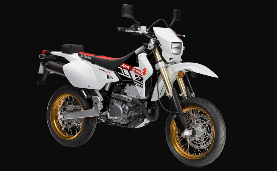 супермото Suzuki drz400sm в цвете Solid White Red