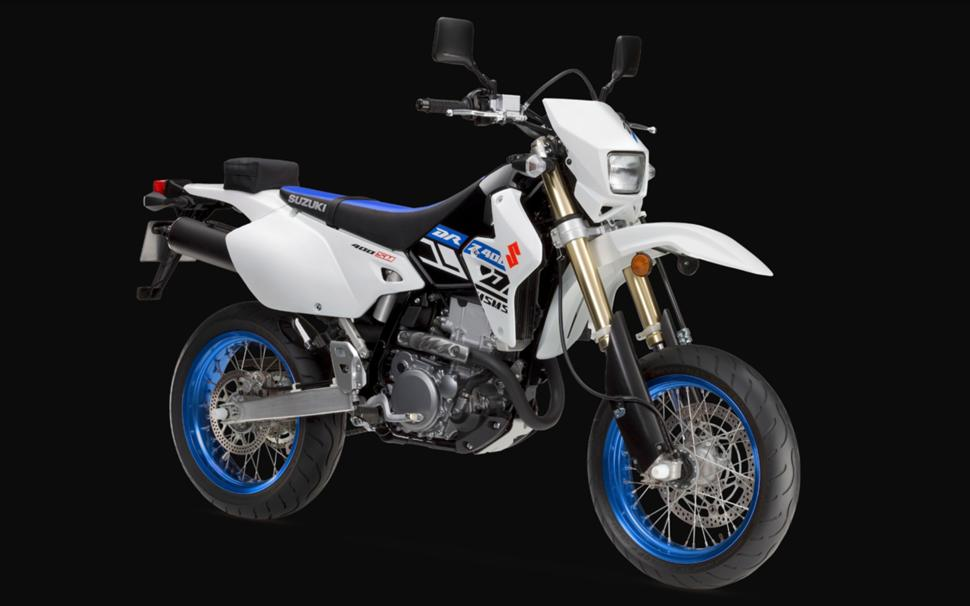 супермото Suzuki drz400sm в цвете Solid White Blue
