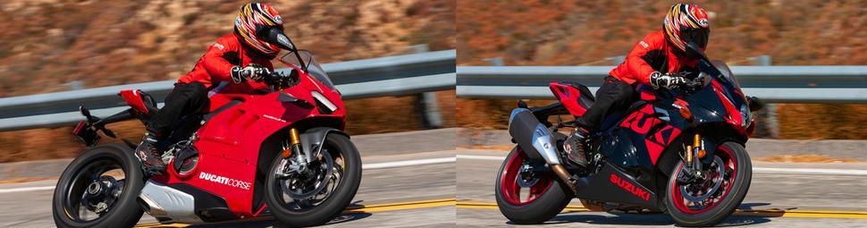 Ducati Panigale V4R и Suzuki GSX-R1000R на дороге