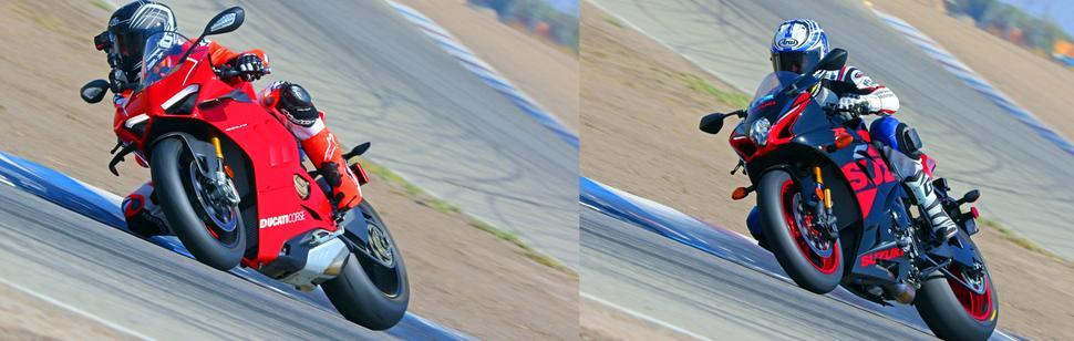 Ducati Panigale V4R и Suzuki GSX-R1000R На треке